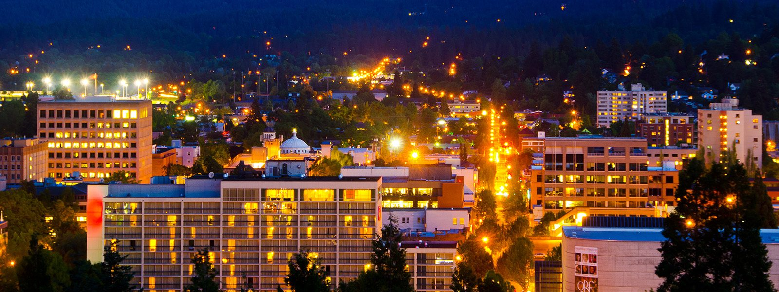 Eugene, OR at night