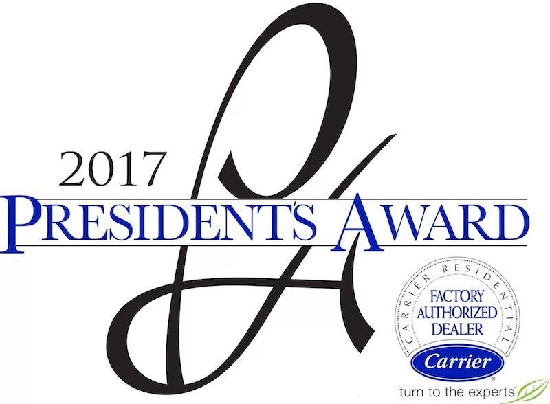 Marshall's Receives 2017 President's Award from Carrier, Earning Honors as Outstanding Dealer